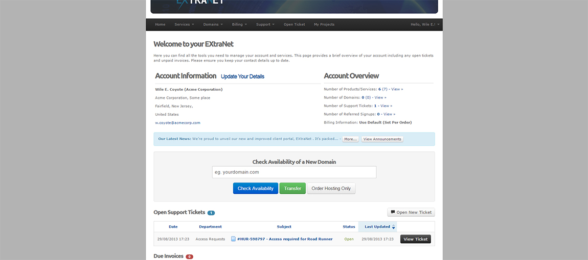 Fully-featured customer portal